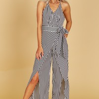 Striped Slit Leg Jumpsuit Black/White