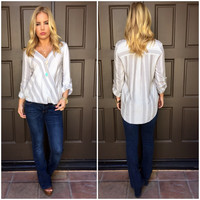 Wrapped in Stripes Rayon Blouse - Grey