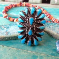 Old Pawn Turquoise Native American Cluster Ring