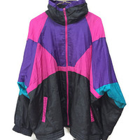 Vintage Windbreaker, 80s 90s Colorblock Jacket, Vintage Nylon Windbreaker Black Purple Pink Turquoise Blue Vintage 80s Windbreaker Jacket  L