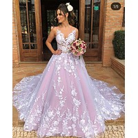 New Style Colored Wedding Dress with 3D Flowers, Dresses For Wedding, Bridal Gown ,Bride Dress, Dresses For Brides, PM0094