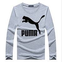 Puma long-sleeved T-shirt cotton round neck printed autumn clothing Korean youth long-sleeved shirt Gray