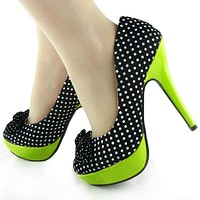 Polka Dots Bow High Heel Platform Stiletto Club/Party Pumps Shoes