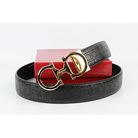 Salvatore Ferragamo Belt Fashion Contracted Smooth Gancio Buckle Belt Leather Belt031