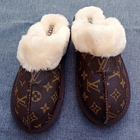 UGG LV Louis Vuitton new printed letter bow snow boots Baotou slippers plush drag Boots Shoes