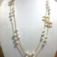 "Designer Inspired 64"" Hollywood Glam Crystal, Pearl Chain Necklace"