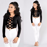 Sexy Hollow Out Long Sleeves Clubwear T-shirt Crop Top