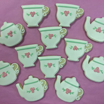 Tea Pot and Tea Cup Cookie Favors for Bridal Showers and Elegant Events, Bridal Shower Cookies, Wedding Shower Cookie, Tea Party Cookies