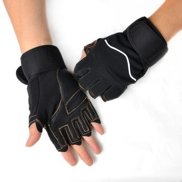 1 pair Outdoor Sport Gym Workout Weight Lifting Training Fingerless Gloves