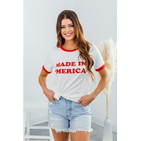 Made In America Tee-Ivory/Red