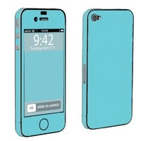 Apple iPhone 4 or 4s Full Body Vinyl Decal Protection Skin Turquoise Blue