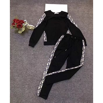 DIOR Women Casual Print Top Pants Trousers Set Two-Piece