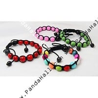 Wholesale Fashion Shamballa Bracelets, With Baking Painted Glass Beads And Nylon Thread, Mixed Color, 55~100mm