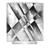 Abstract Gray Minimalist Contemporary Pop Art Painting Gray Scale I By Madart Shower Curtain