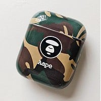 AAPE BAPE New Cute Camouflage iPhone Airpods Headphone Case Wireless Bluetooth Headphone Protector Case Anti-Fall Protective Case(No Headphones) Green