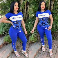 Champion Fashion Women Short Sleeve Top Trousers Set Two-Piece