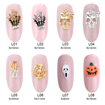 10pcs 3d nail art metal skull charms nail accessories