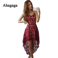 Ahagaga 2017 Spring Summer Women Dresses Fashion Sexy V-Neck lace Dress Sleeveless Cute Solid Red White Women Dresses Vestidos