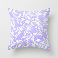 Shabby Chic purple damask Throw Pillow by Miriam Hahn