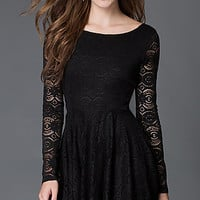 Black Lace Long Sleeve Party Dress