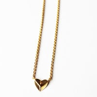Heart Shaped Pyramid Stud Necklace Yellow
