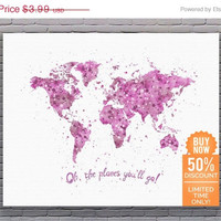 Oh The Places You'll Go Travel Quote Print Map Wall Decor Pink Watercolor Printable Nursery Art Girl Instant Download Art