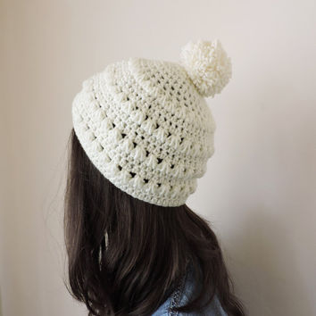 FREE SHIPPING Crochet hat Beanie with pom pom Hand knit hat in ivory Womens winter hat Ski hat Bobble hand knitted hat