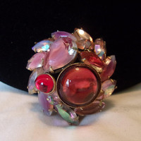 """Pink Cabochon Art Glass Rhinestone Gold Plate Vintage Domed Brooch Pin 1 3/4"""""""