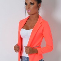 Sunburst Neon Orange Fitted Zip Blazer Jacket | Pink Boutique