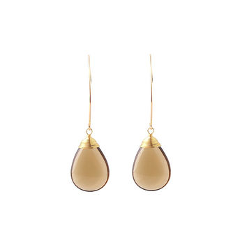 14K Gold Plated Tea Glass Stone Earrings