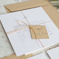 Sample DESIGN 5: simplistic natural twine organic wedding invitation suite, white rustic wedding stationery, simple invitation, kraft tag