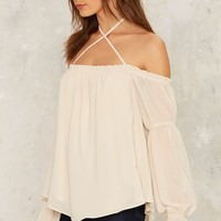 Nasty Gal Well Versed Off-the-Shoulder Top - White