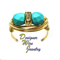 DWJ0553 Fabulous Mediterranean Teal Czech Art Glass Duet Gold Plated Wire Wrap R