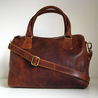 Leather Barrel Handbag Purse Vintage Brown