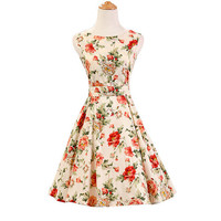 floral dress plus size midi dress sexy women summer dresses elegant Vintage 50s Rockabilly Dress