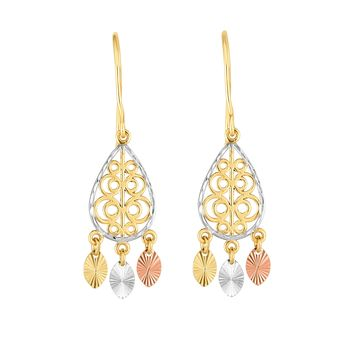 14K Tri-color Gold Chandelier With Diamond Cut Discs Earrings