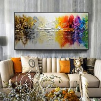 Handmade modern abstract landscape painting on canvas wall art picture for living room, home decoration painting
