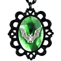 Large Green Rhinestone with Bat Necklace Victorian Setting