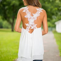 Floral All Over The World Tank, White
