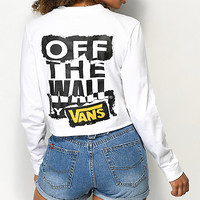 Vans OTW Ripped White Long Sleeve Crop T-Shirt | Zumiez