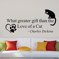 Wall Decals Quotes Vinyl Sticker Decal Quote Charles Dickens What Greater Gift Than The Love Of A Cat Phrase Home Decor Bedroom Art Design Interior C513