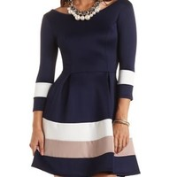 Color Block Striped Skater Dress by Charlotte Russe - Navy Combo