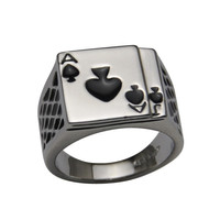 Chunky 18K White Gold Plated Black Enamel Spades Ring Men