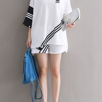 Adidas Casual Round Neck Pattern Cool Short Sleeve Maxi Dress