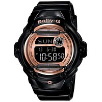 Casio Baby-G Whale Watch - Champagne Pink Face with Black Resin Strap