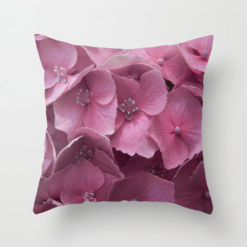 "Art Print Throw Pillow with Pink Hydrangeas Photography Print in sizes 16""x 16"", 18""x18"" or 20""X20"", Indoor and Outdoor fabric."