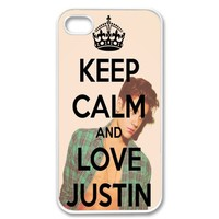 Apple Iphone 4 4g 4s Keep Calm and Love Justin Bieber Retro Vintage White Sides Case Skin Cover Protector Accessory