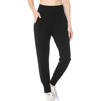 Casual Active French Terry Jogger Pants With Pockets