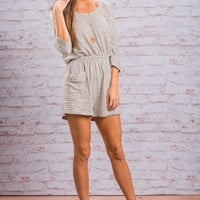 Follow Me Forever Romper, Ivory-Black