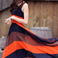 Striped Sleeveless Shirtwaist A-Line Pleated Maxi Dress